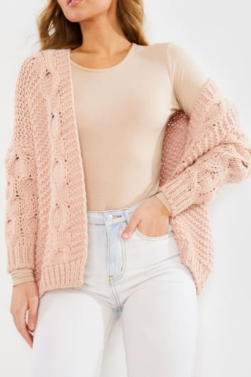 PINK CHUNKY CABLE KNITTED CARDIGAN