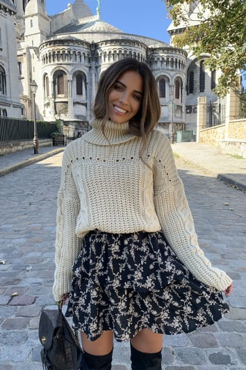 STEPHSA STONE CHUNKY CONTRAST KNIT JUMPER