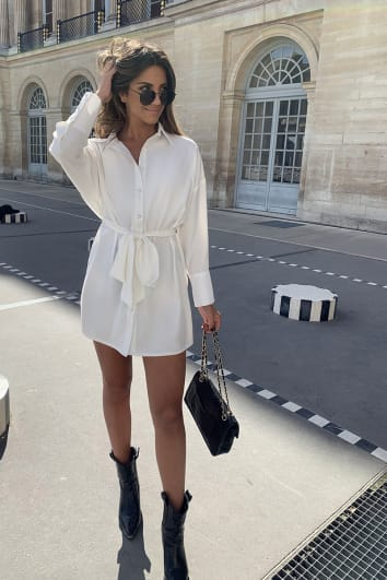 STEPHSA WHITE BOX FIT SHIRT DRESS