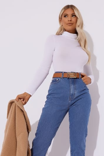 BASIC WHITE ROLL NECK LONG SLEEVED BODYSUIT