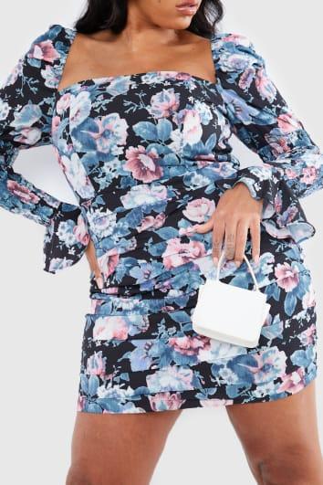 CURVE LORNA LUXE BLACK 'LUCKY' ANTIQUE ROSE MINI DRESS