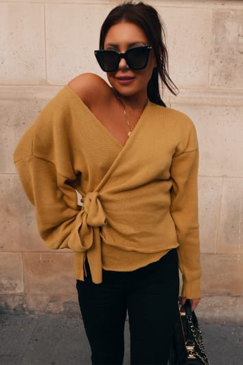 LORNA LUXE HONEY 'BUT FIRST' WRAP CARDIGAN