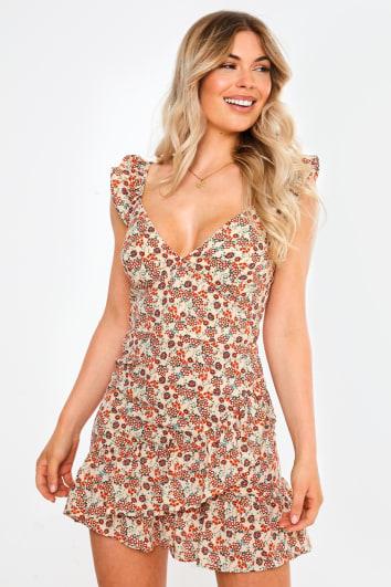 nude floral ruffle hem mini dress