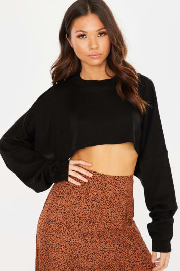 BLACK KNITTED OVERSIZED CROPPED JUMPER