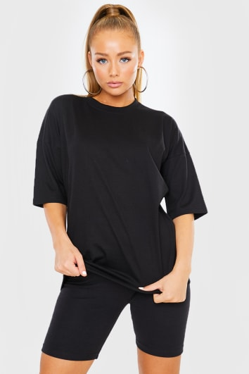 BLACK OVERSIZED SLOUCHY T SHIRT