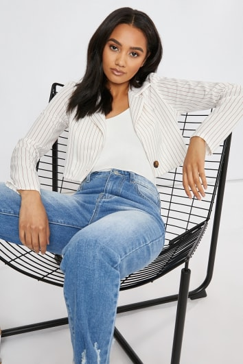 white red pinstripe cropped co ord jacket