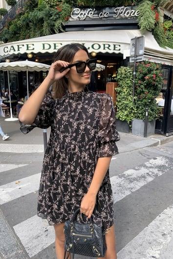 STEPHSA BLACK FLORAL PRINT FRILL COLLAR SWING DRESS
