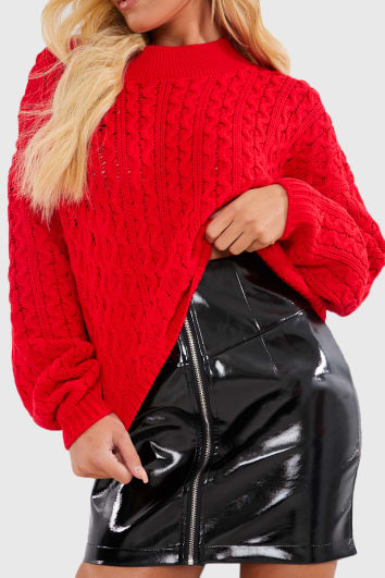 CHARLOTTE CROSBY RED CABLE BALLOON SLEEVE JUMPER