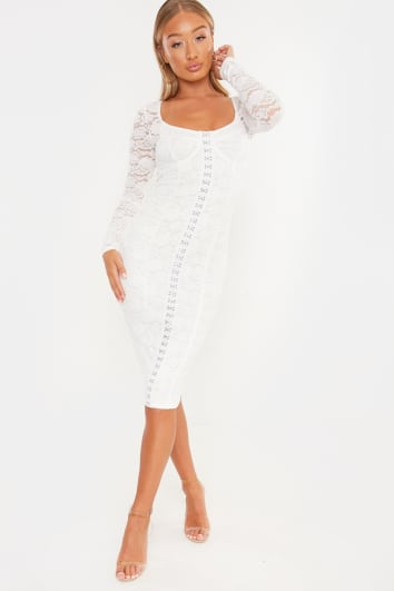 LAILA LOVES WHITE LACE CUPPED HOOK AND EYE MIDI DRESS