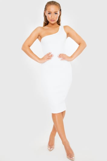 WHITE ONE SHOULDER RIBBED MIDI DRESS