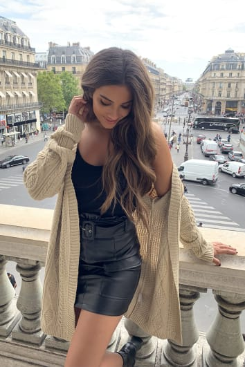STEPHSA BROWN CABLE KNIT OVERSIZED CARDIGAN