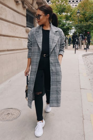 LORNA LUXE 'BORROWED HIS' CHECK TAILORED GREY COAT