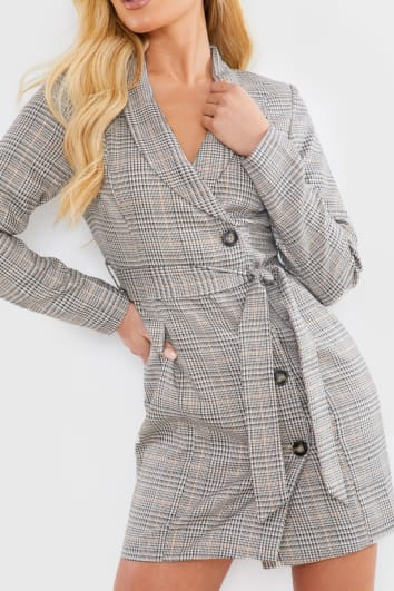 BEIGE HERITAGE CHECK TWILL BLAZER DRESS