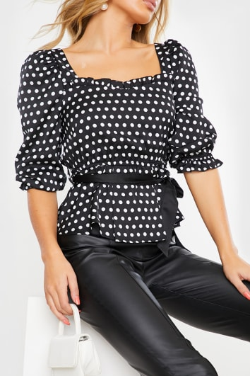 BLACK POLKA DOT PRINT PUFF SLEEVE BELT DETAIL TOP