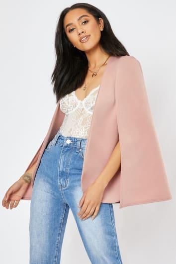 rose pink cape blazer
