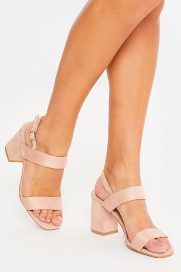 nude faux suede ankle strap midi heels