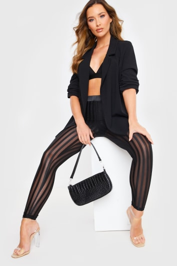 BLACK SHEER STRIPE LEGGINGS