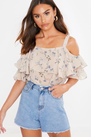 nude floral print cold shoulder top