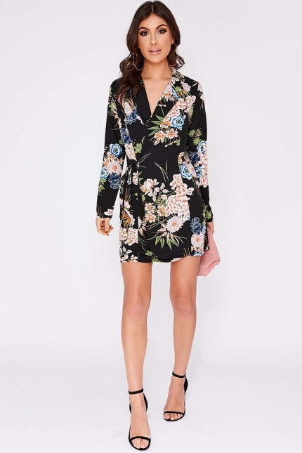 f073da0b572a Debee Black Floral Wrap Over Blazer Dress | In The Style