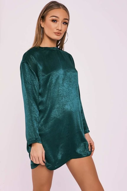 a6a6ea1d21e8 Bethen Green Silky Sheer Oversized T Shirt Dress | In The Style