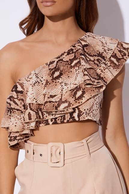 b7e6b47e858 Billie Faiers Nude Snake Print One Shoulder Frill Crop Top | In The ...