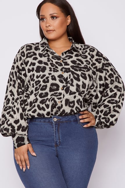 b89e69eb Curve Dani Dyer Grey Leopard Print Oversized Shirt | In The Style