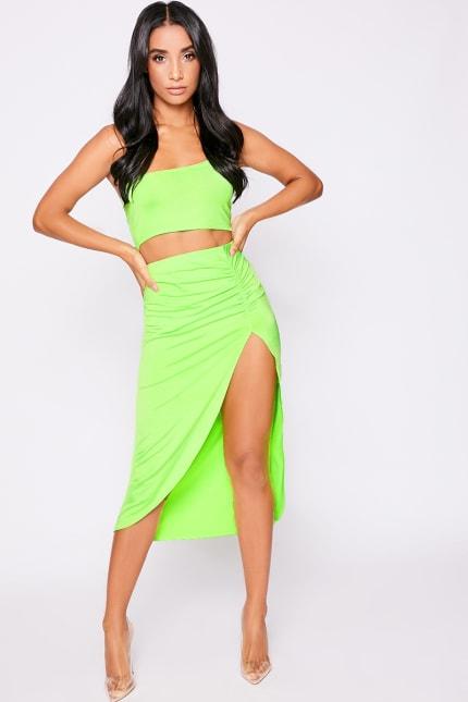 fa3bc5ffc6c Lyola Neon Lime Thigh Split Midi Skirt | In The Style Australia
