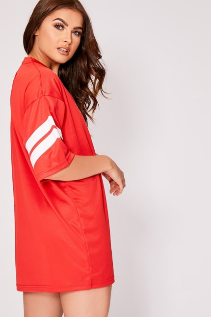 ce88941a6569 Sarah Ashcroft Red 1985 Oversized Basketball T Shirt Dress   In The ...