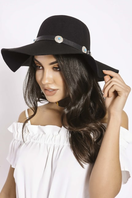 7253cb48 BLACK WIDE BRIM CONCHO DETAIL FEDORA | In The Style