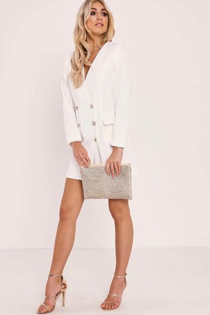 9ebe227662e48 Alia White Gold Buttoned Blazer Dress | In The Style