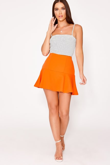 0a3e0de3d1cd Charlotte Crosby Orange Frill Extreme Mini Skirt | In The Style