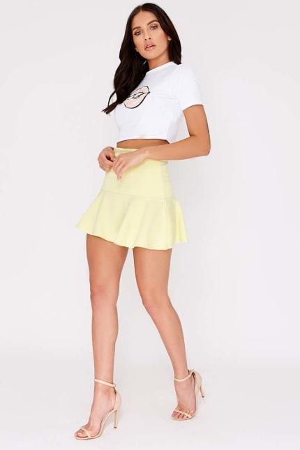 4b49f416fa17 Charlotte Crosby Lemon Frill Extreme Mini Skirt | In The Style