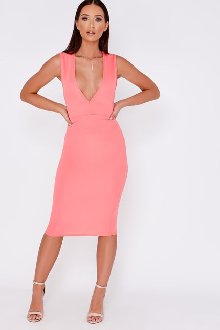 671bf589bab1 Dolley Coral Plunge Midi Dress | In The Style