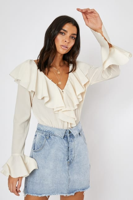 0ece913b Lorna Luxe 'fantine' Cream Button Neckline Flare Sleeve Bodysuit ...