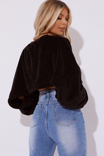 6c134354850 Jakira Black Teddy Fur Crop Jumper   In The Style
