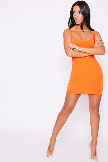 557a66aa214 Lynnzee Neon Orange O Ring Mini Dress | In The Style Australia