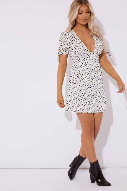 d9bb67f16 Cheyenne White Polka Dot Button Down Mini Dress | In The Style Australia