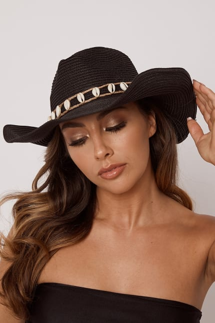 629b3485 Black Sea Shell Wide Brim Hat | In The Style