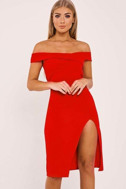 1db7b4b112e Billie Faiers Red Bardot Wrap Front Thigh Split Midi Dress | In The ...