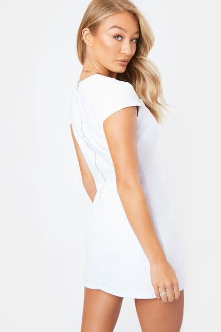 fc7b308c305d3 Menana White Short Puff Sleeve Denim Mini Dress | In The Style