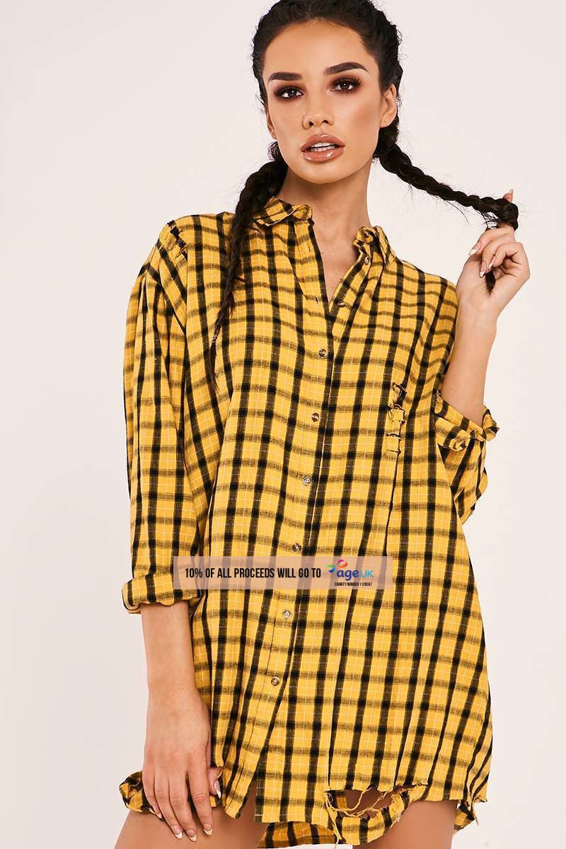yellow checked oversized shirt