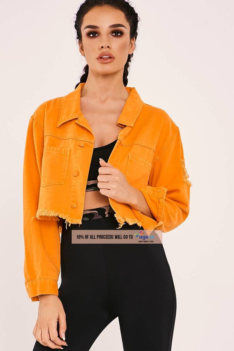 orange frayed crop denim jacket