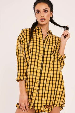 SARAH ASHCROFT YELLOW CHECKED OVERSIZED SHIRT