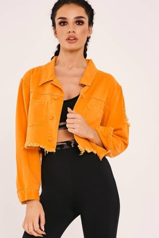 SARAH ASHCROFT ORANGE FRAYED CROP DENIM JACKET