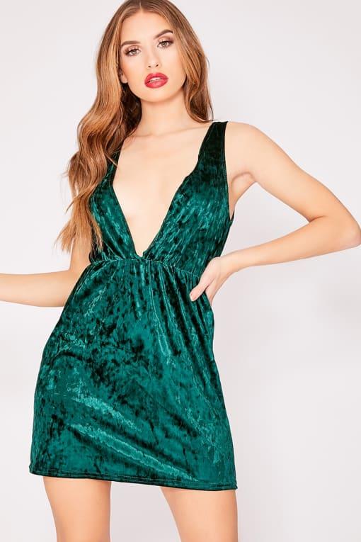 green velvet plunge mini dress