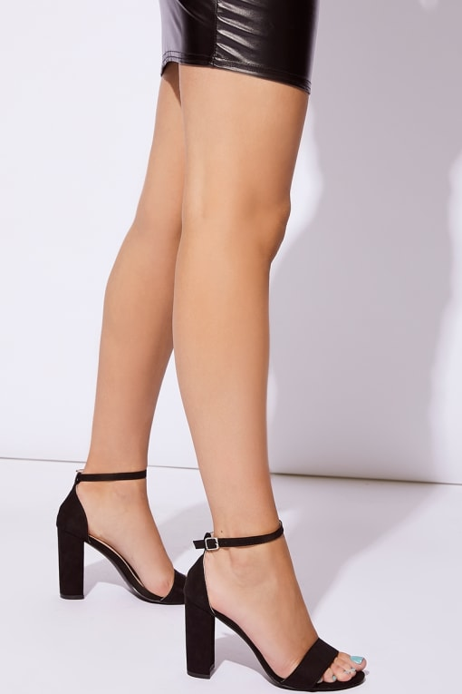 black faux suede ankle strap barely there block heels