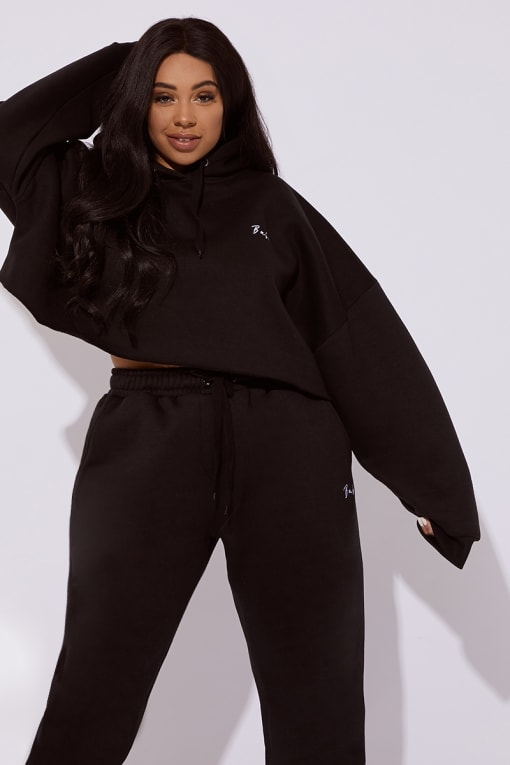 CURVE DANI DYER BABE BLACK EMBROIDERED CROPPED LOUNGE HOODIE