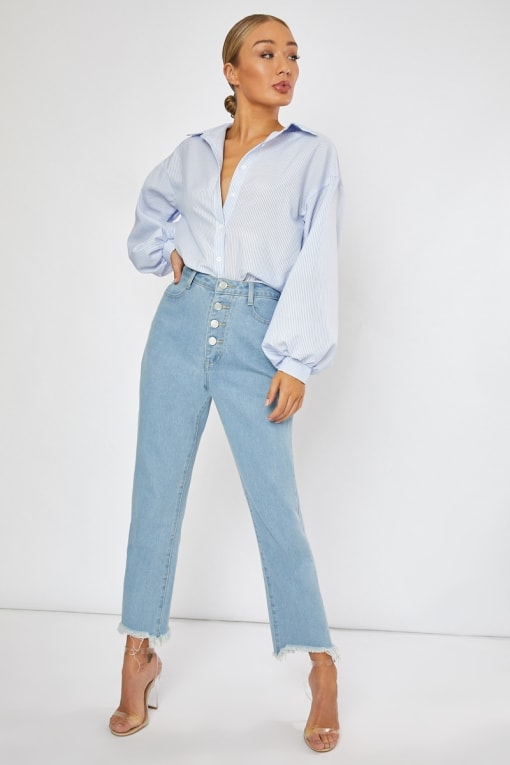 stone wash denim button down jeans