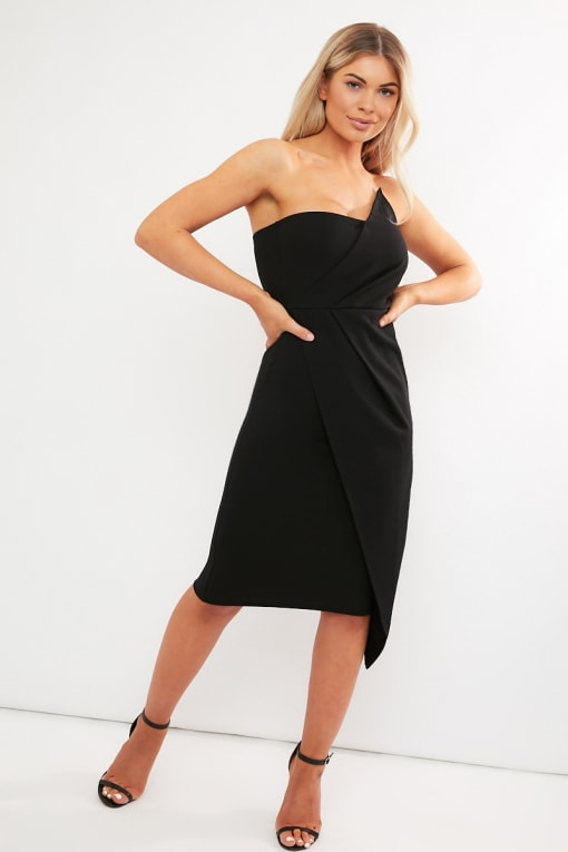 black ruched front bandeau midi dress