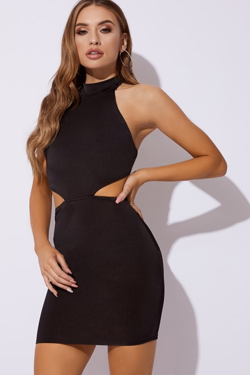 black slinky high neck cut out dress
